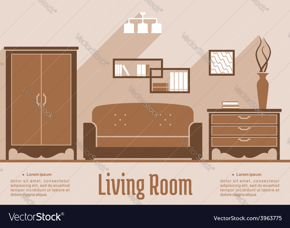 Living room interior flat design vector | Price: 1 Credit (USD $1)