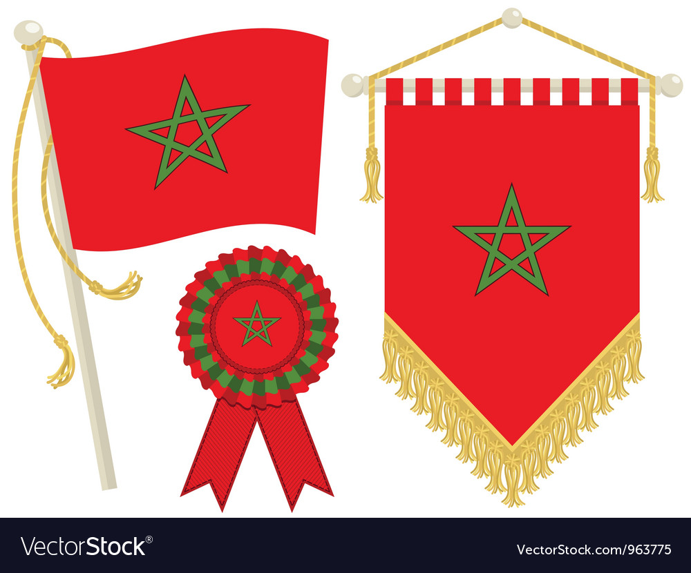 Morocco flags vector | Price: 1 Credit (USD $1)
