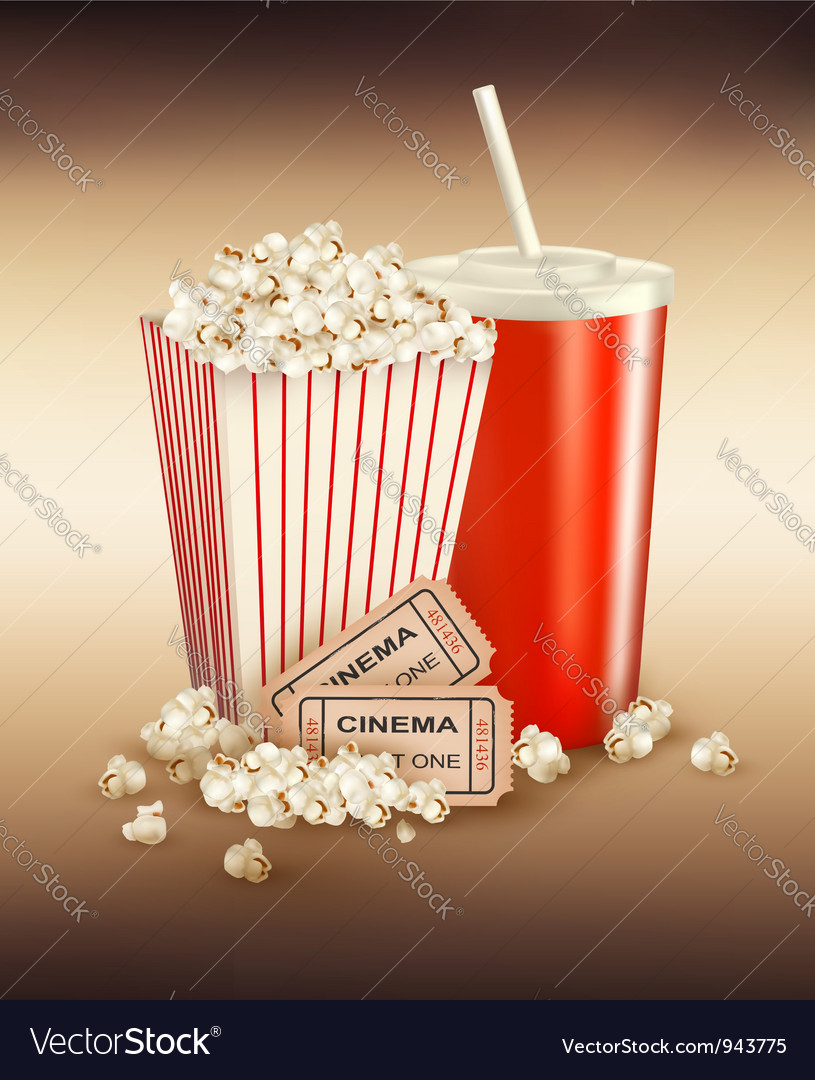 Popcorn box and cola and tickets vector | Price: 3 Credit (USD $3)