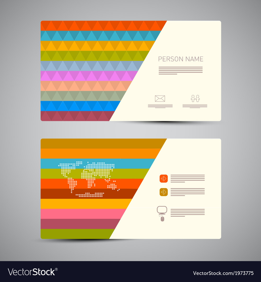 Retro paper business card template with colorful vector | Price: 1 Credit (USD $1)