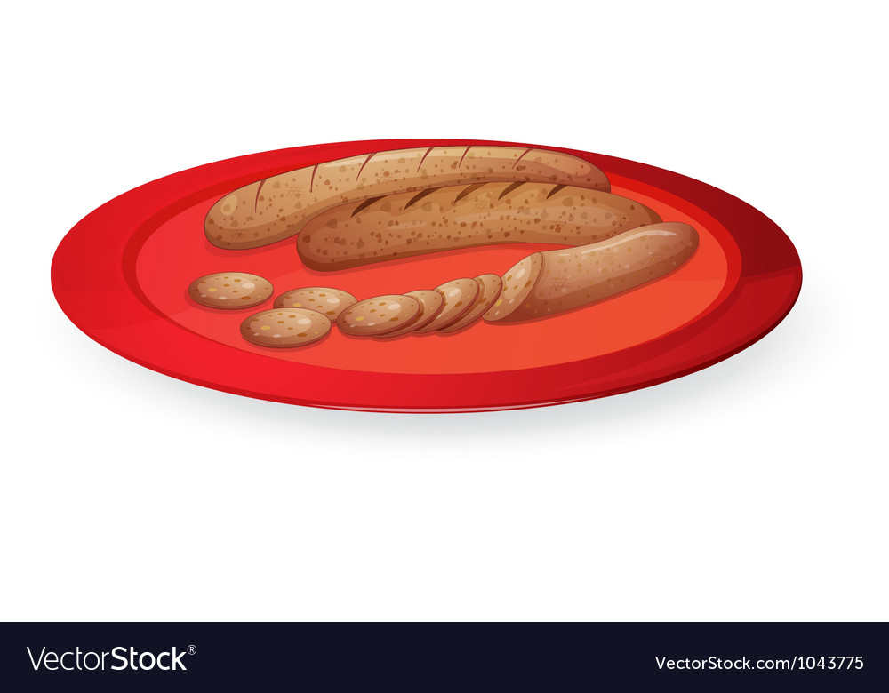 Sausage in plate vector | Price: 1 Credit (USD $1)