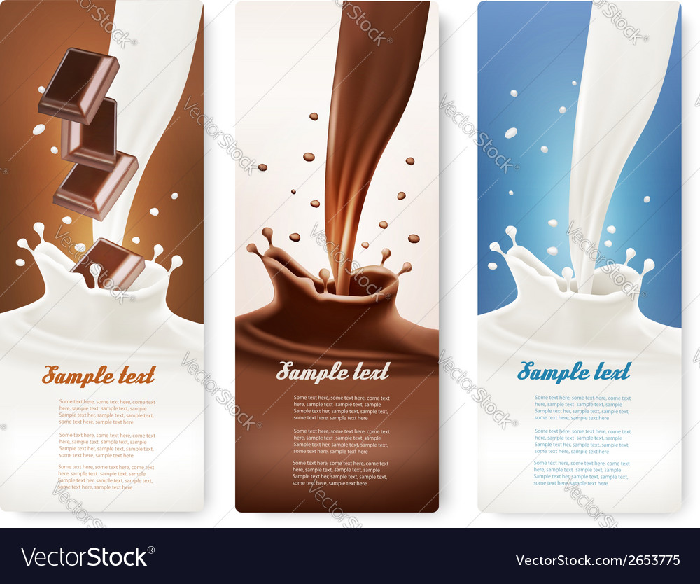 Set of banners with chocolate and milk splashes vector | Price: 1 Credit (USD $1)