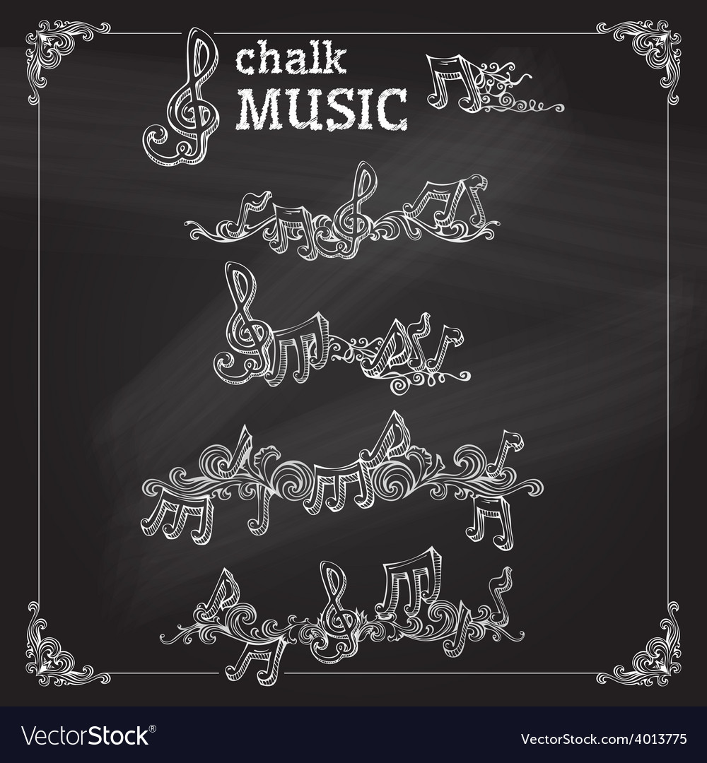 Set of chalk music page decorations vector | Price: 1 Credit (USD $1)