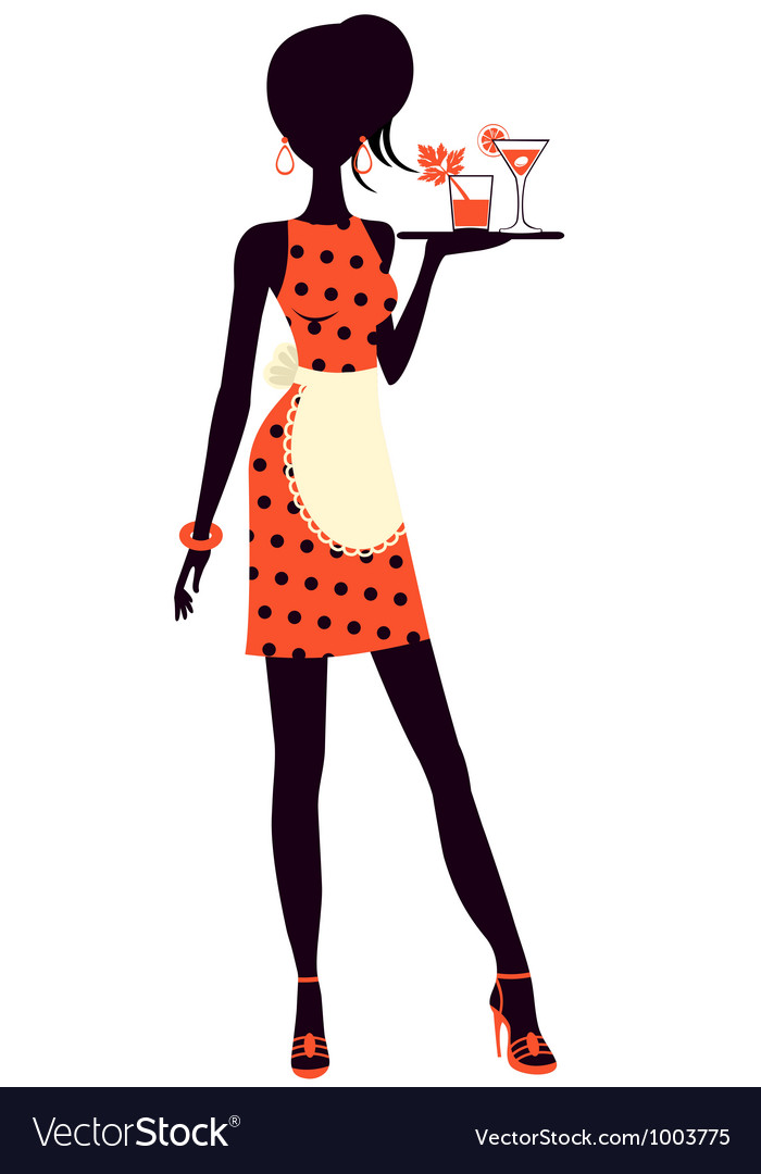 Waitress holding cocktails vector | Price: 1 Credit (USD $1)