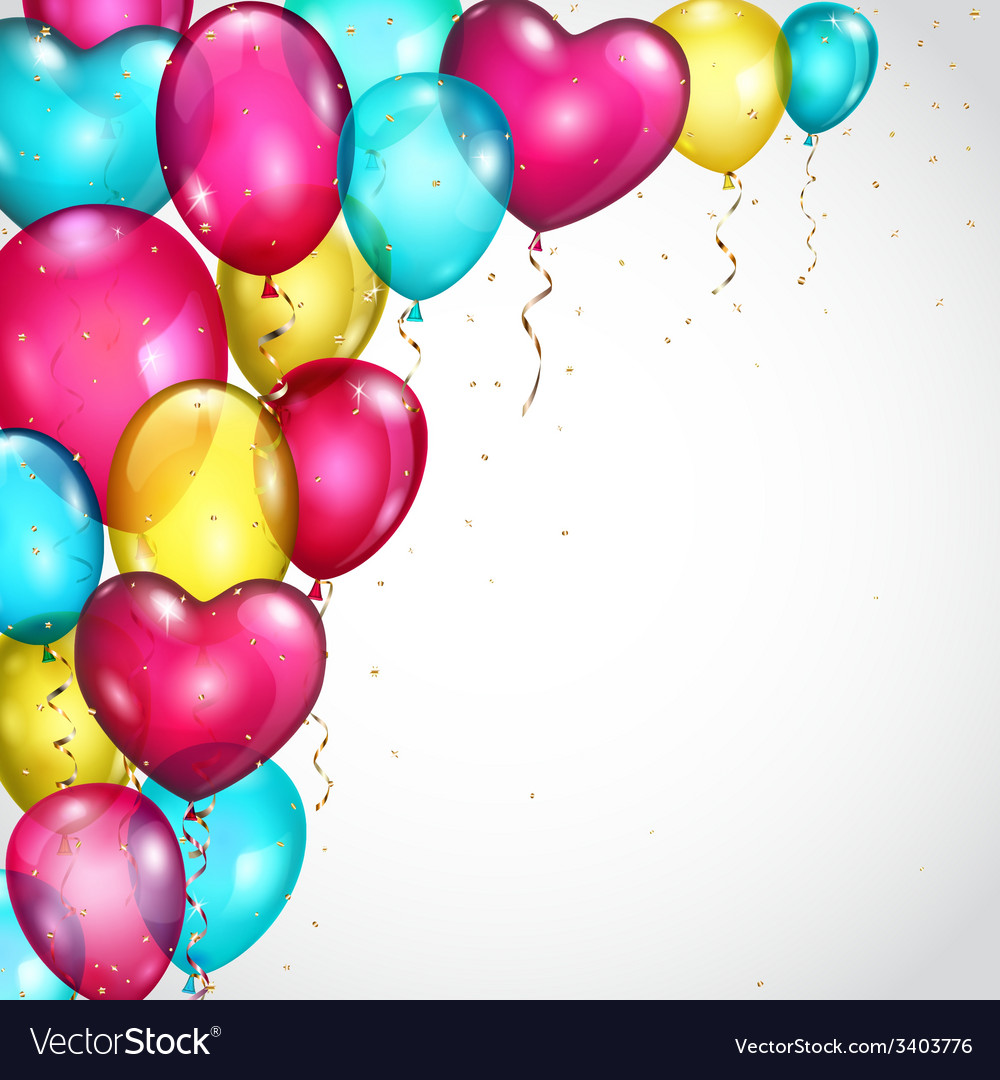 Background with colored balloons and serpentines vector | Price: 1 Credit (USD $1)