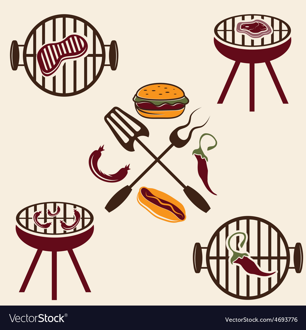Bbq labels set and design elements vector | Price: 1 Credit (USD $1)