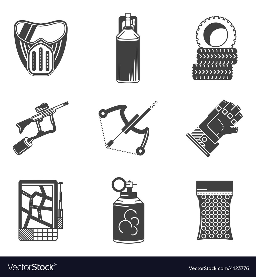 Black icons collection for paintball vector | Price: 1 Credit (USD $1)