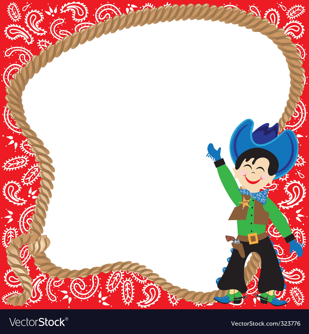 Cute cowboy birthday party inv vector | Price: 3 Credit (USD $3)
