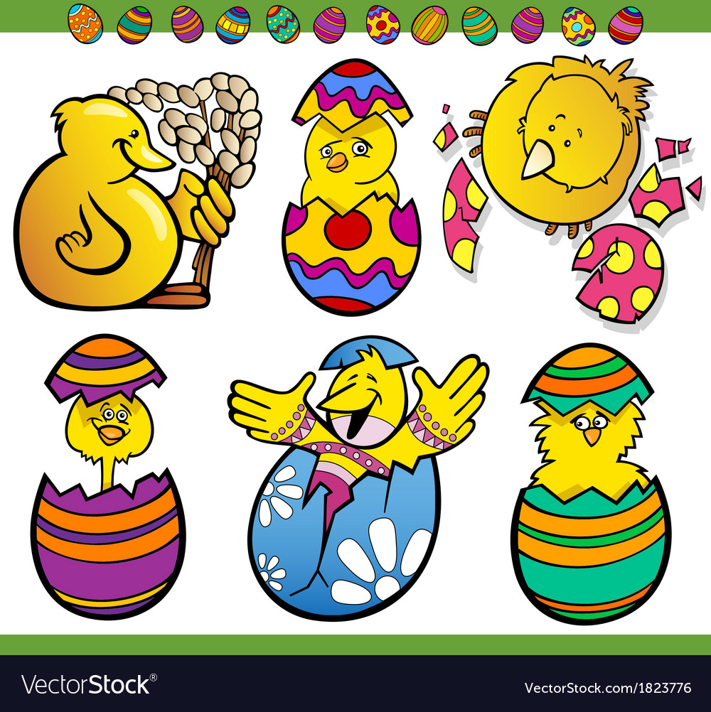 Easter chicks set cartoon vector | Price: 1 Credit (USD $1)