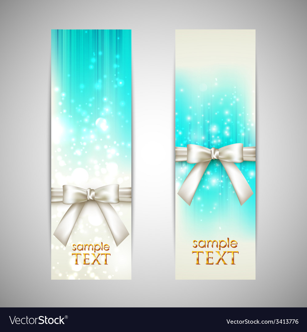 Holiday blue banners with white bows vector | Price: 1 Credit (USD $1)