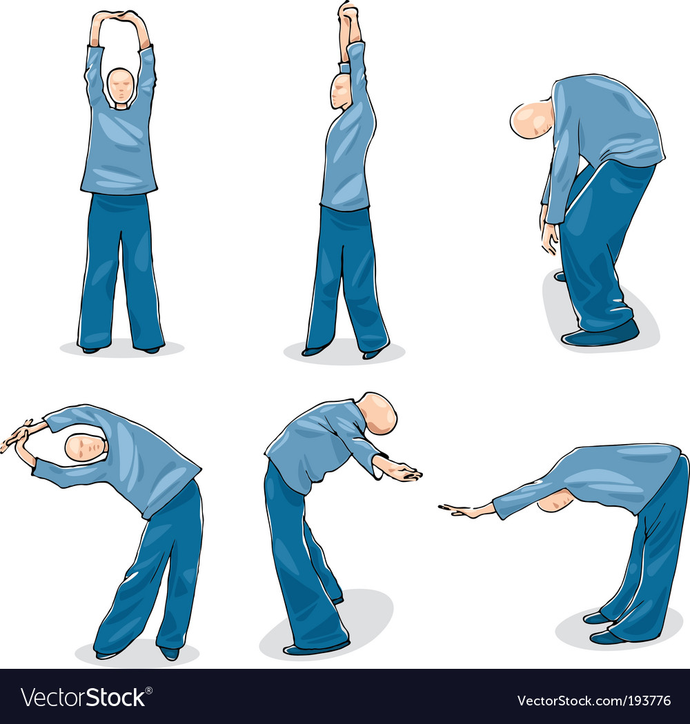 Man practice tai chi warm-up vector | Price: 3 Credit (USD $3)