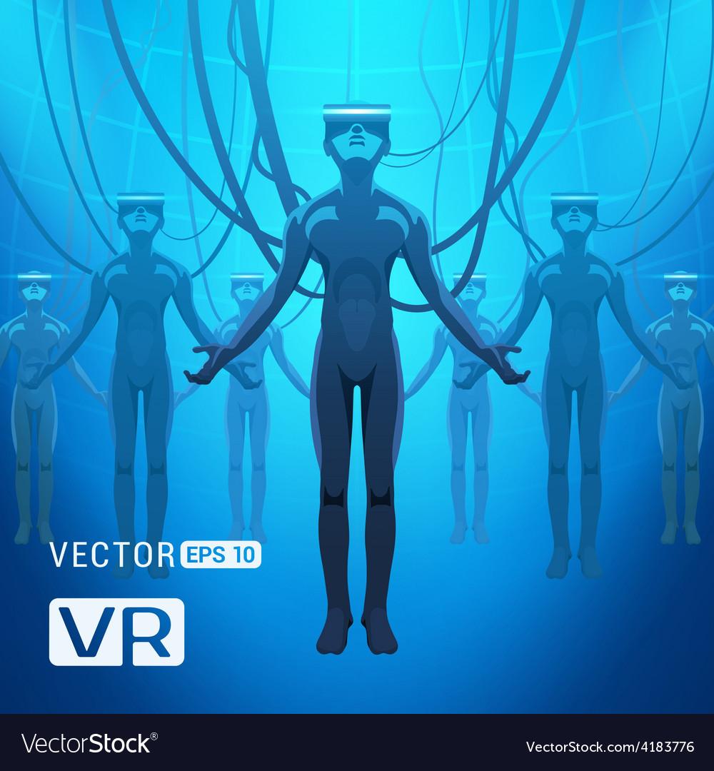 Men in a virtual reality helmet vector   Price: 3 Credit (USD $3)