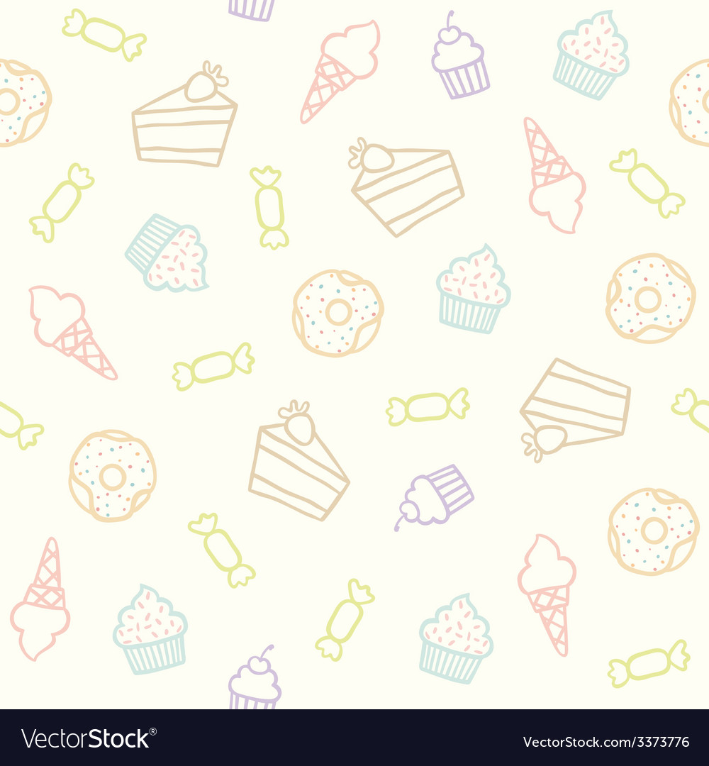 Sweet pattern cakes cupcakes candies donuts ice vector   Price: 1 Credit (USD $1)