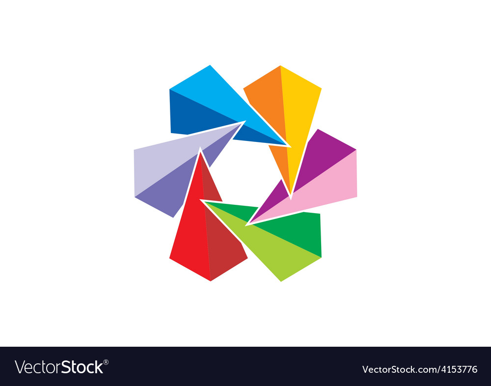 Triangle colorful circle abstract logo vector | Price: 1 Credit (USD $1)