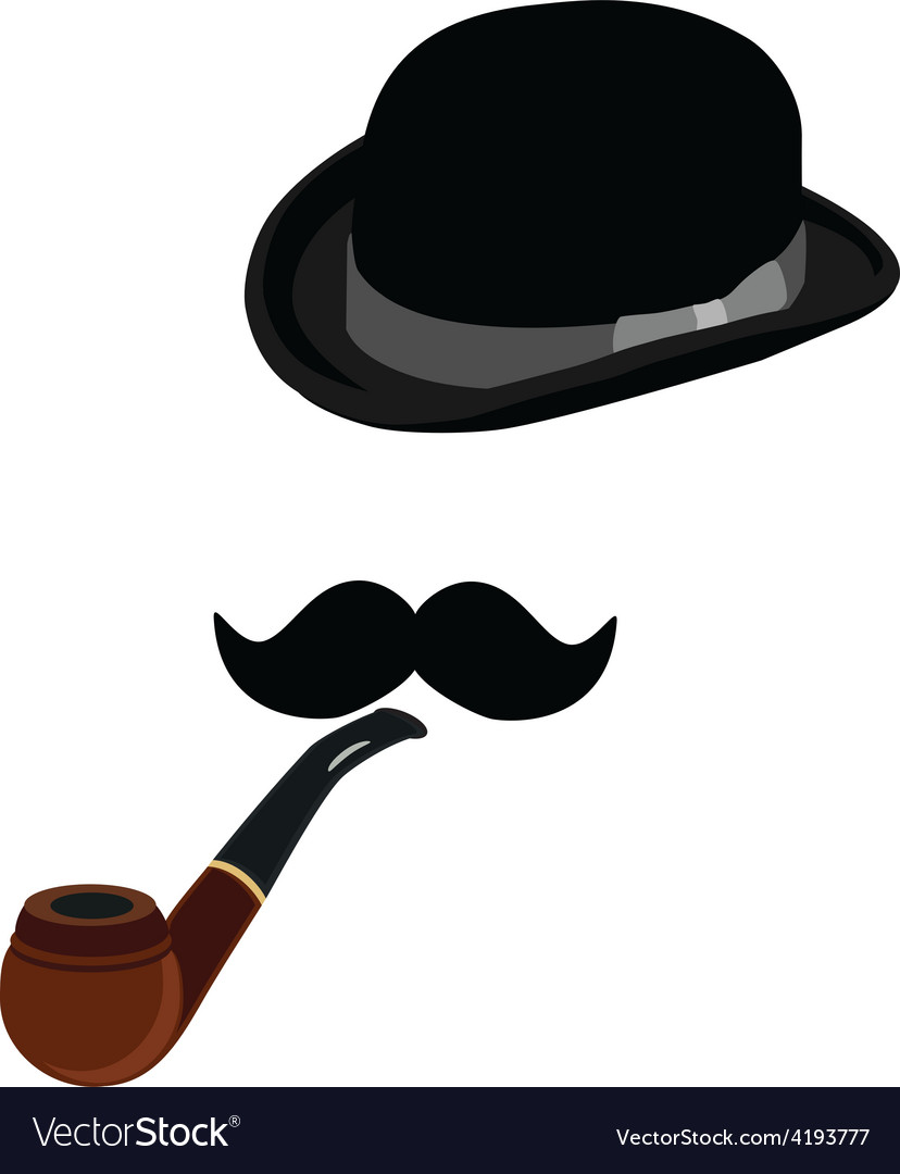 Bowler hat smoking pipe and mustache vector | Price: 1 Credit (USD $1)