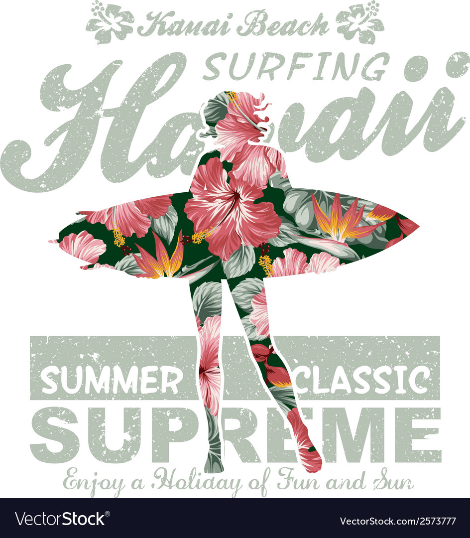 Floral hawaii surfing vector | Price: 1 Credit (USD $1)