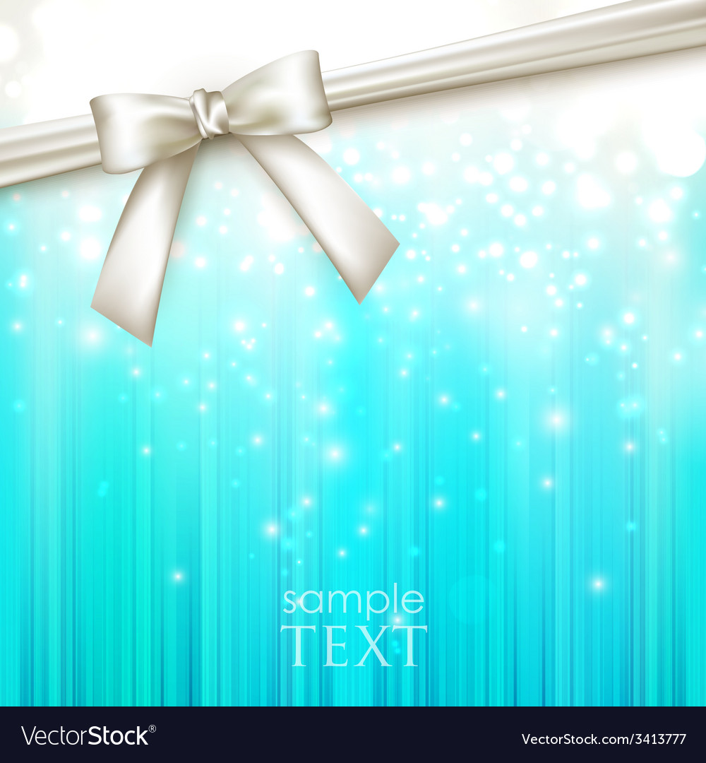 Holiday blue background with white bow vector | Price: 1 Credit (USD $1)