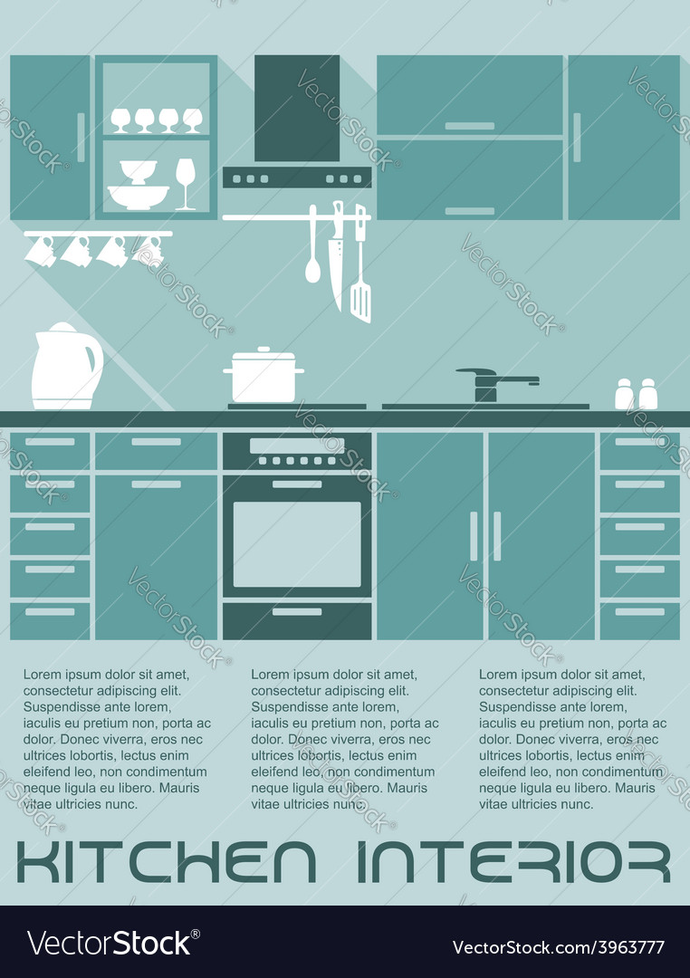 Kitchen flat interior design template vector | Price: 1 Credit (USD $1)
