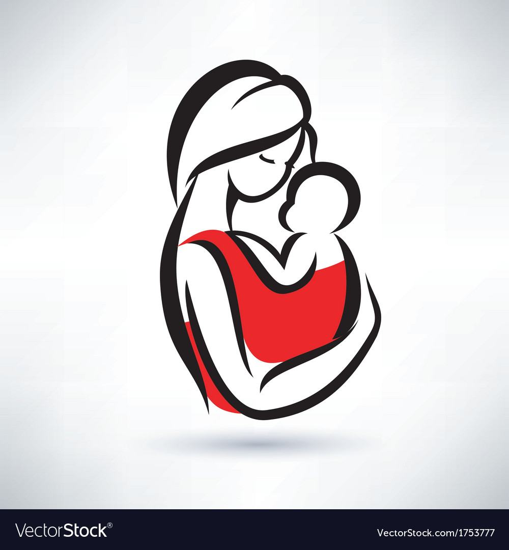 Mom and baby symbol vector | Price: 1 Credit (USD $1)