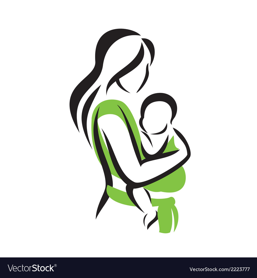 Mom holding her baby in a sling vector | Price: 1 Credit (USD $1)
