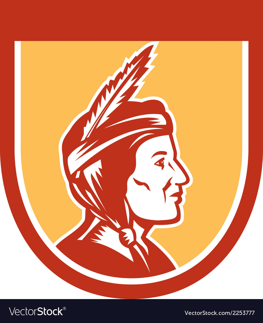 Native american indian chief shield retro vector | Price: 1 Credit (USD $1)