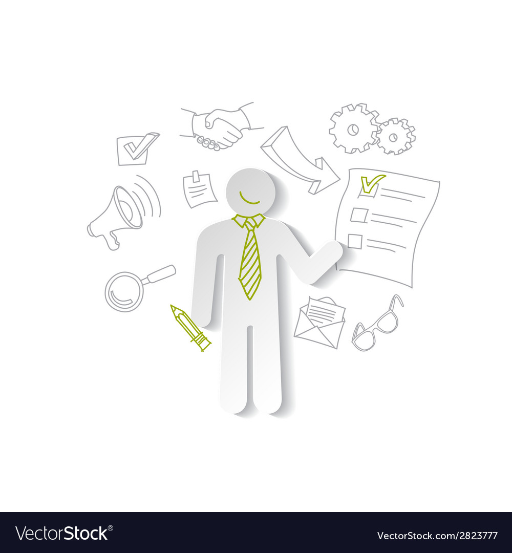 Paper man and cheking list business concept vector | Price: 1 Credit (USD $1)