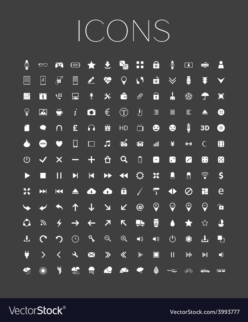 Set of universal web icons on a gray background vector | Price: 1 Credit (USD $1)