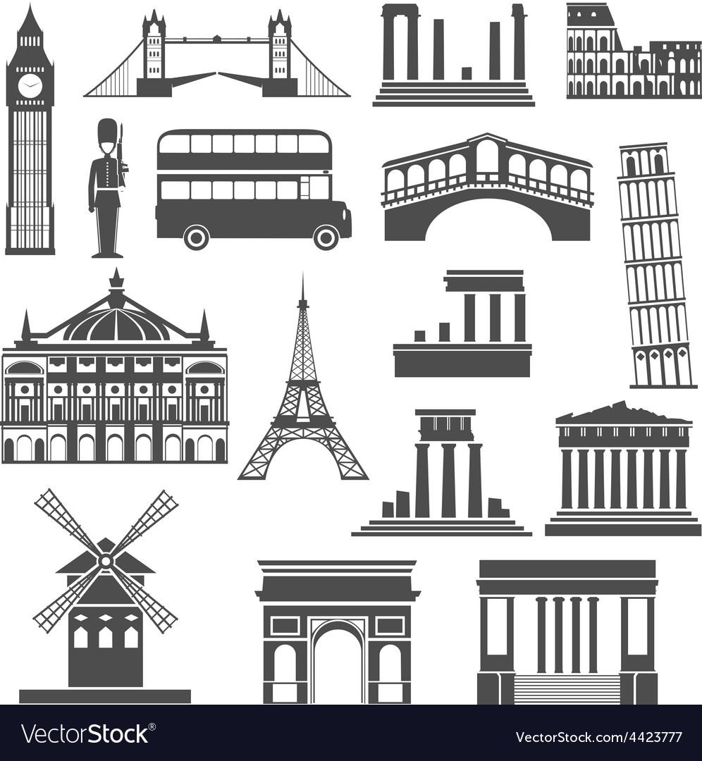 Travel landmark black icons set vector | Price: 1 Credit (USD $1)
