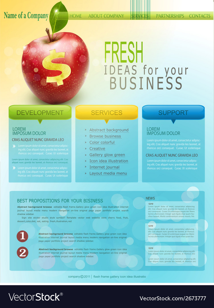 Website for business with red apple vector | Price: 1 Credit (USD $1)