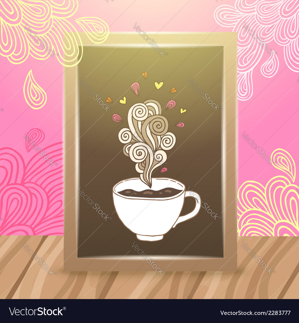 Wood frame on the desk with coffee vector | Price: 1 Credit (USD $1)