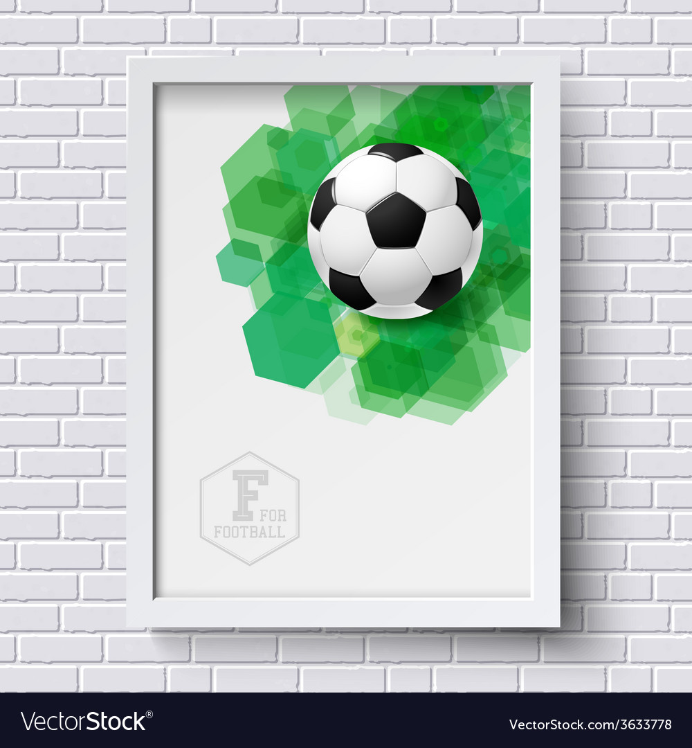 Abstract soccer poster image frame on white brick vector | Price: 1 Credit (USD $1)
