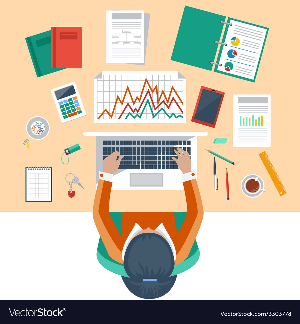 Business woman working with laptop and documents vector | Price: 1 Credit (USD $1)