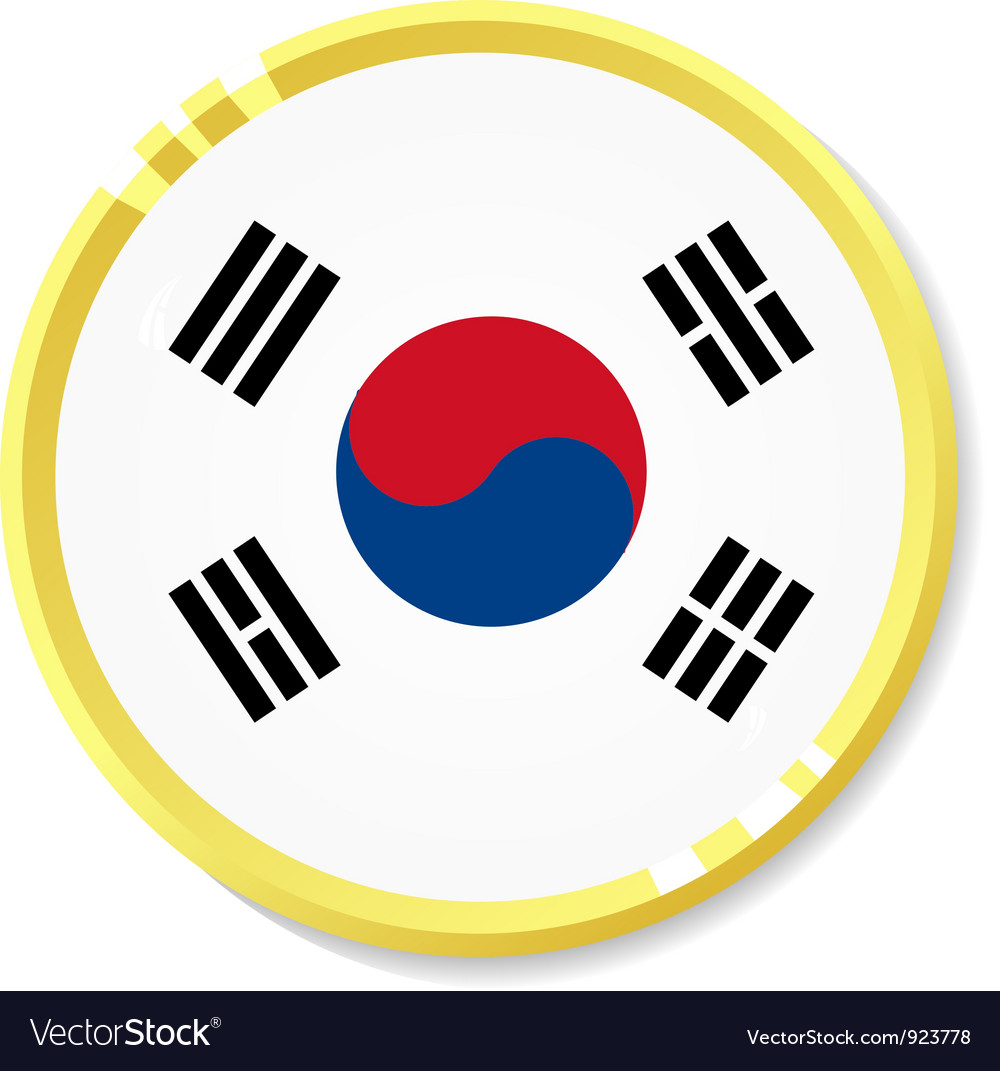Button with flag republic of korea vector | Price: 1 Credit (USD $1)