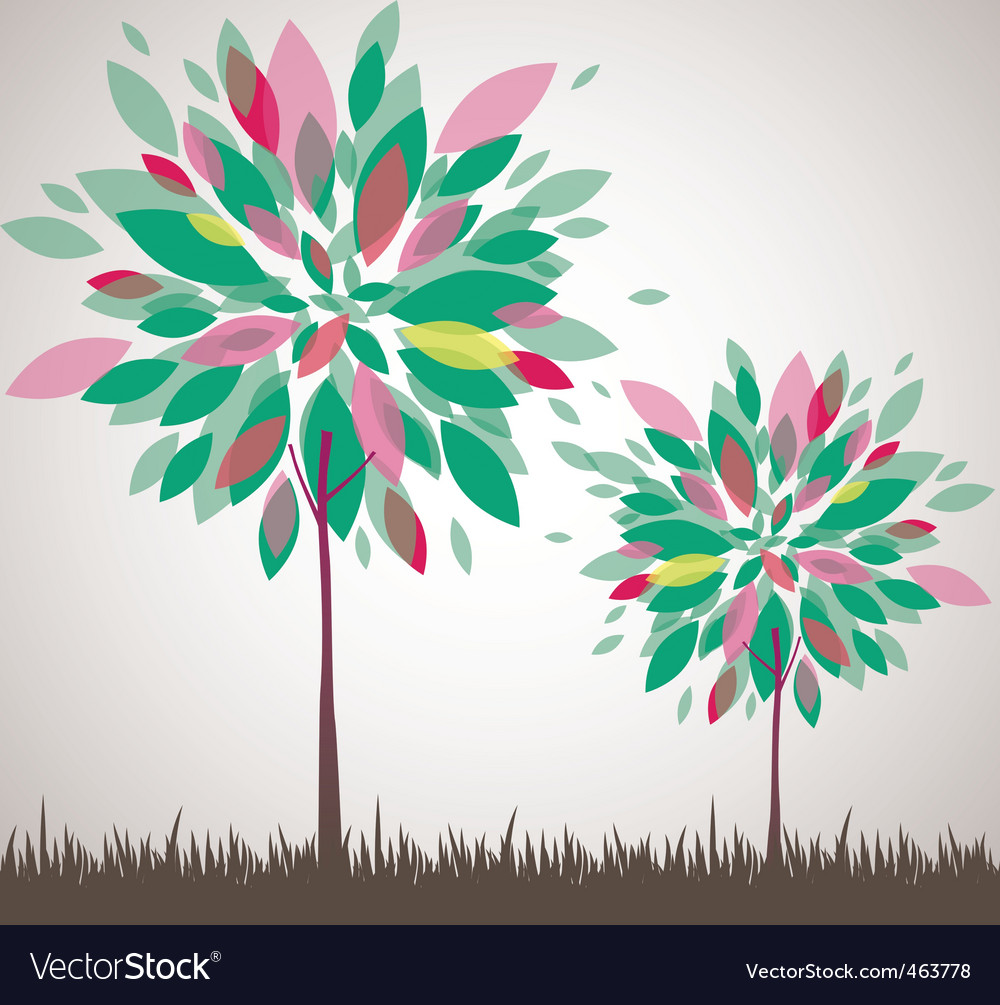 Ct tree flowers vector illustration vector | Price: 1 Credit (USD $1)