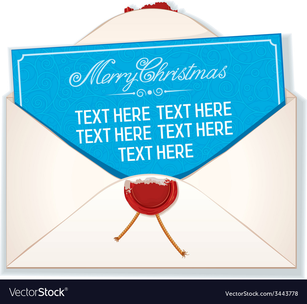 Envelope and card merry christmas vector | Price: 1 Credit (USD $1)