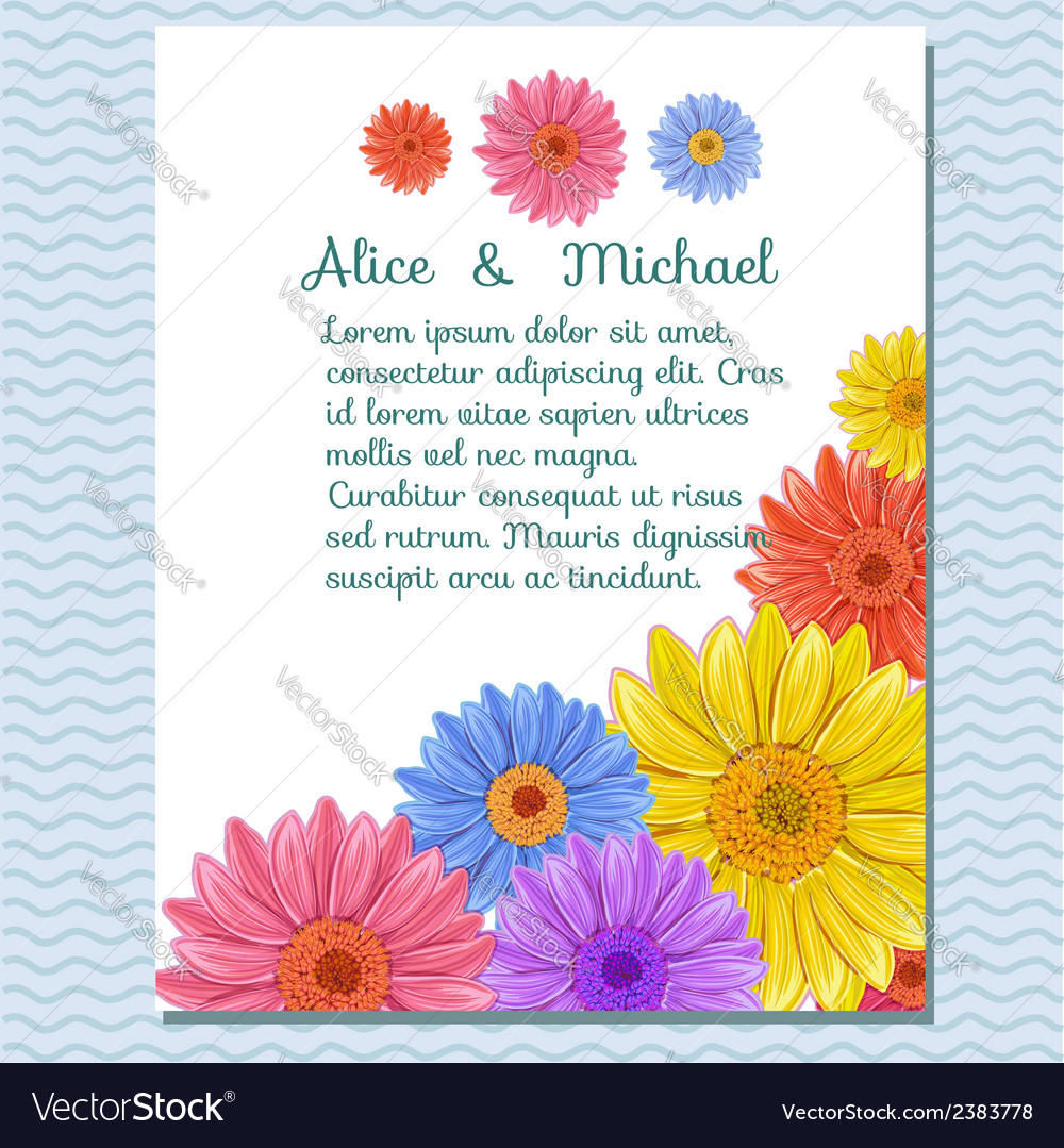 Floral invitation greeting card vector | Price: 1 Credit (USD $1)