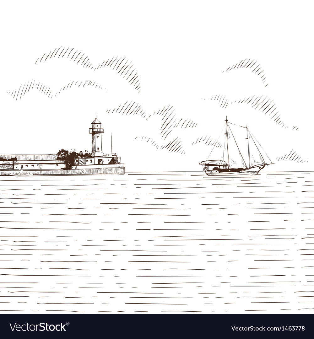 Hand drawn sea bay vector | Price: 1 Credit (USD $1)