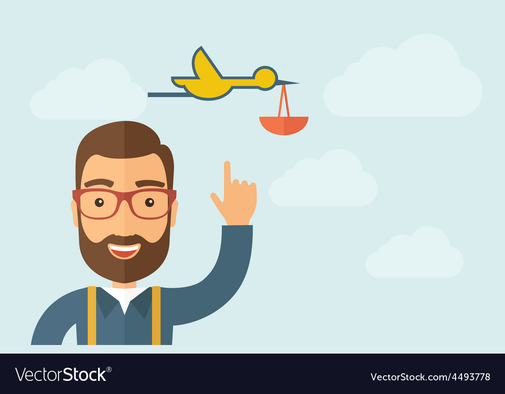 Man pointing the bird with basket icon vector | Price: 1 Credit (USD $1)