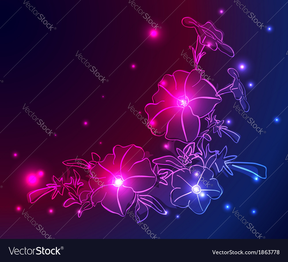 Neon background with flowers and stars vector | Price: 1 Credit (USD $1)