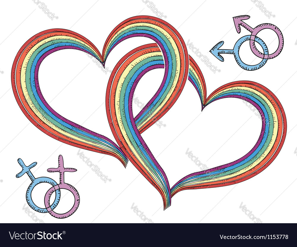Rainbow hearts with gay symbols vector | Price: 1 Credit (USD $1)