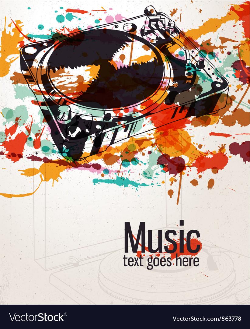 Retro splatter music background vector | Price: 1 Credit (USD $1)
