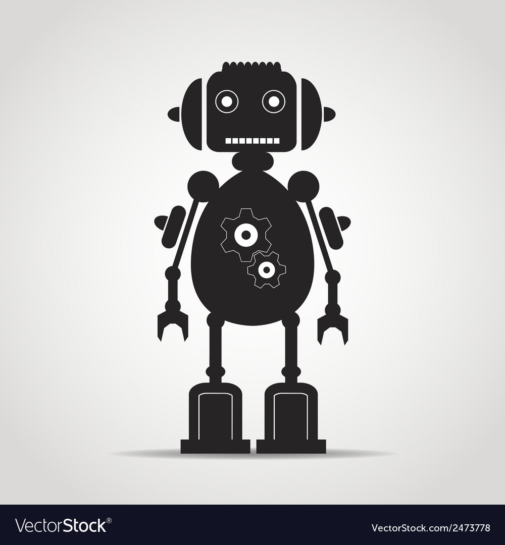 Robot with antena copy vector | Price: 1 Credit (USD $1)