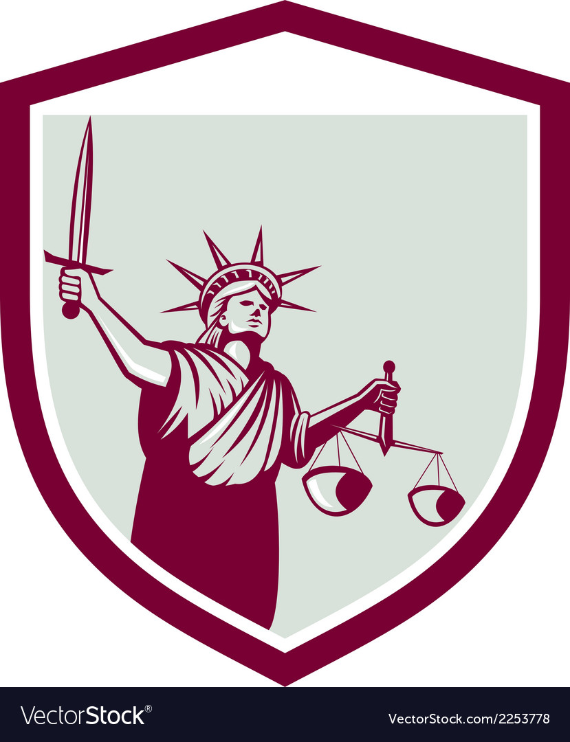 Statue of liberty holding sword scales justice vector | Price: 1 Credit (USD $1)