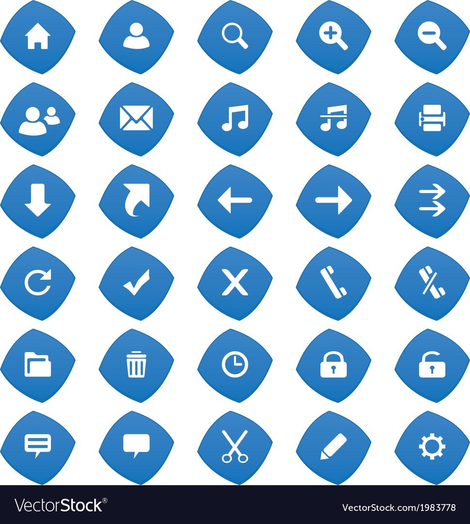 Web blue icons vector | Price: 1 Credit (USD $1)