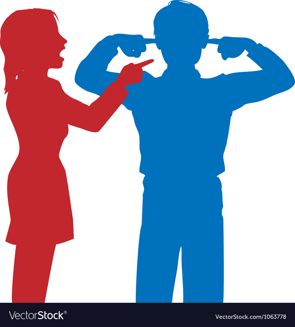 Woman yell man listen fingers ears argue vector | Price: 1 Credit (USD $1)