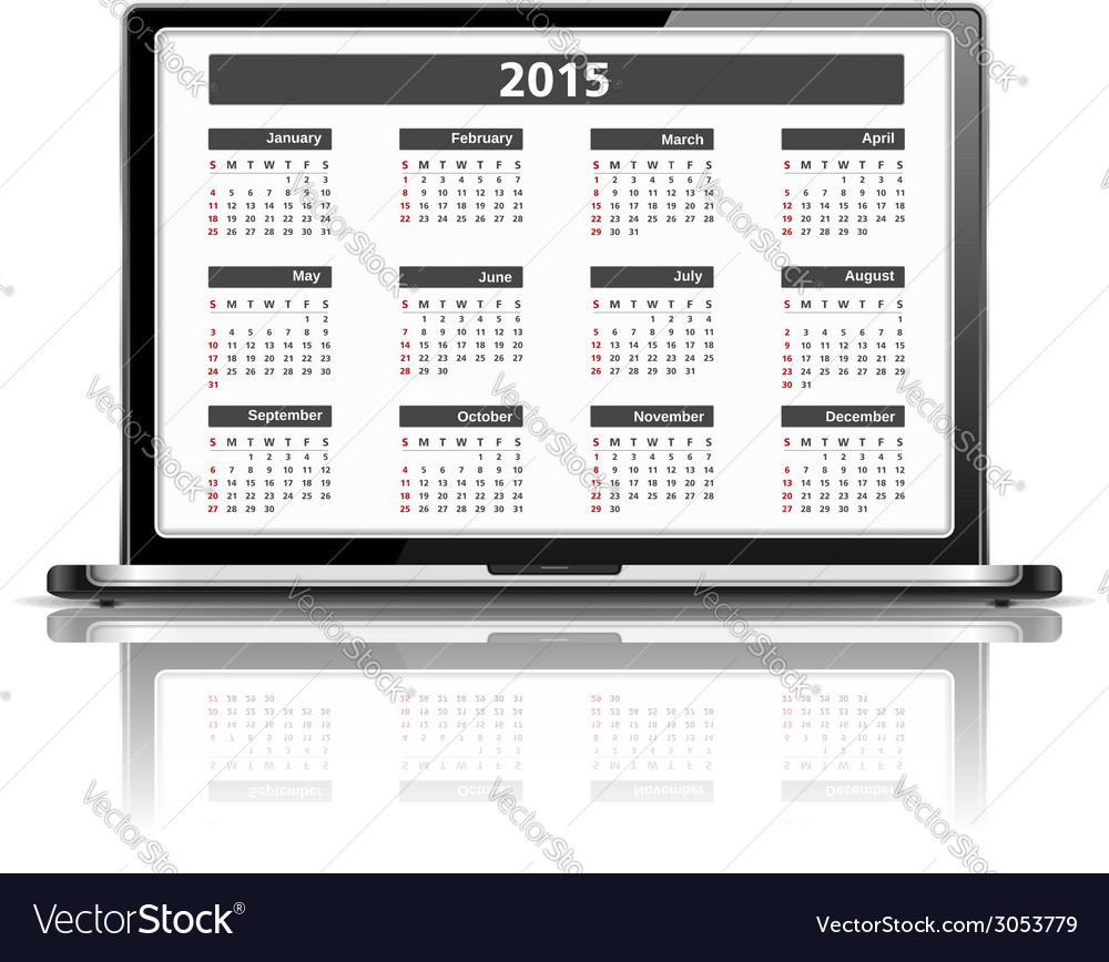2015 calendar vector | Price: 1 Credit (USD $1)