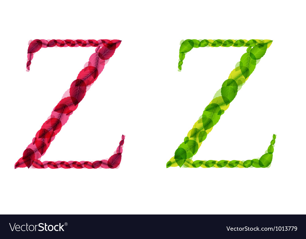 Alphabet letters made from spring green and autumn vector | Price: 1 Credit (USD $1)