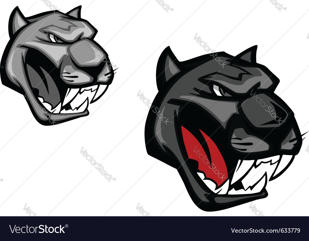 Angry panther or puma for mascot design isolated o vector | Price: 1 Credit (USD $1)