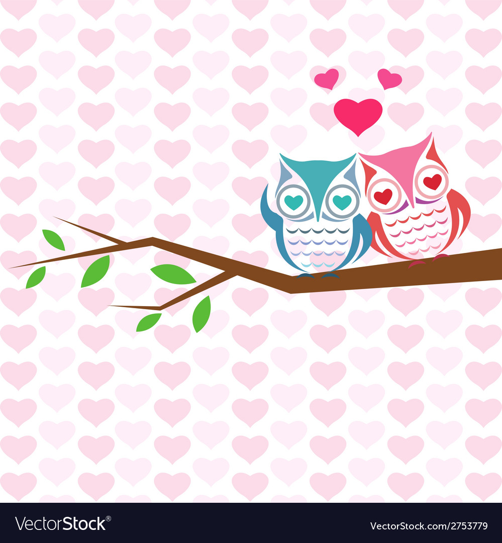 Backgrounds with couple of owls vector | Price: 1 Credit (USD $1)