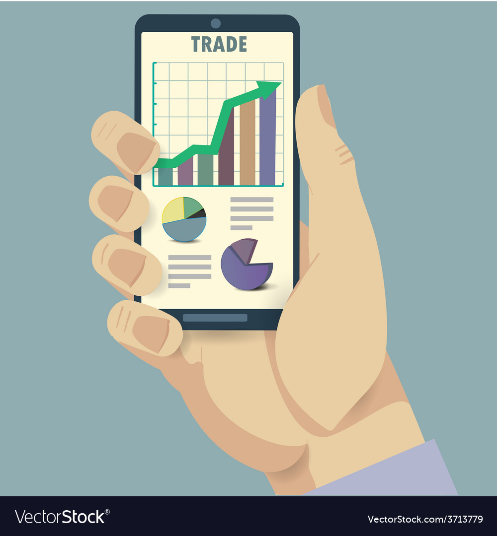Phone and trade analysis vector | Price: 1 Credit (USD $1)